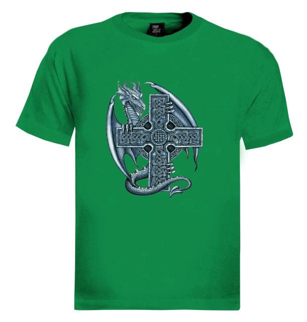 Blue Dragon Cross T Shirt Gothic Medieval Celtic Reptile