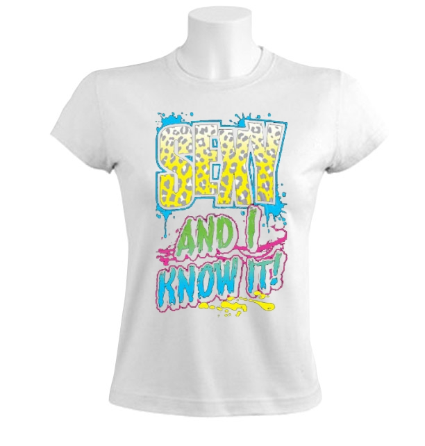 Sexy-And-I-Know-It-Women-T-Shirt-Party-Rock-Shufflin-Music-Neon-Colors-Funny