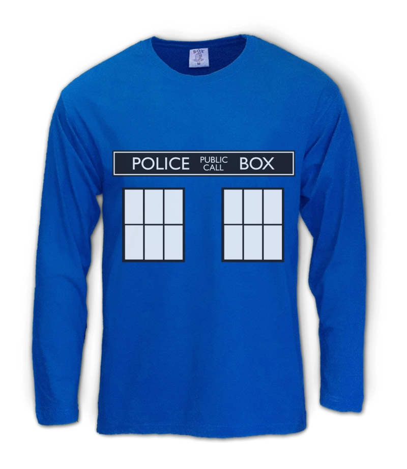 POLICE BOX doctor series Long Sleeve T-Shirt TARDIS who Easy Halloween Costume