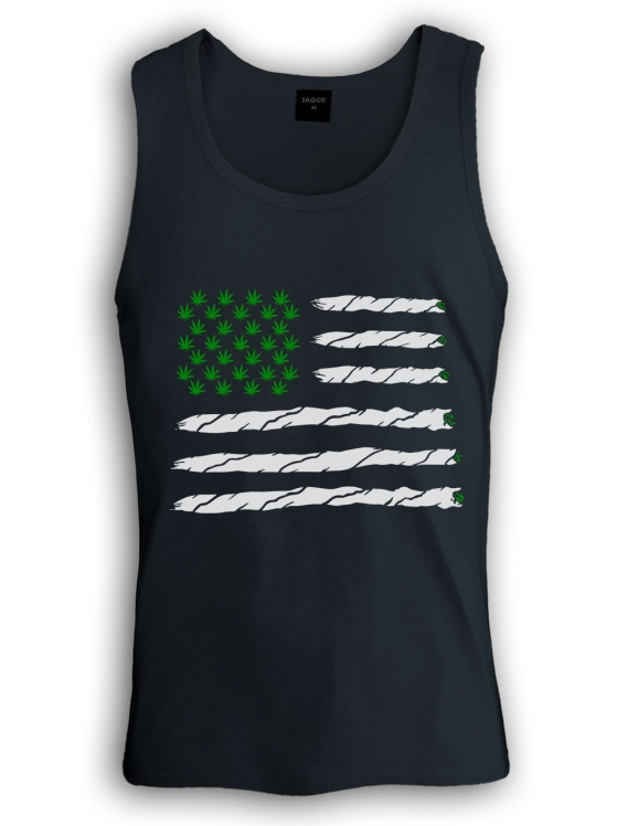 Weed American Flag Singlet Marijuana WEED 420 JUST HIT IT Joint Blunt Hip Hop