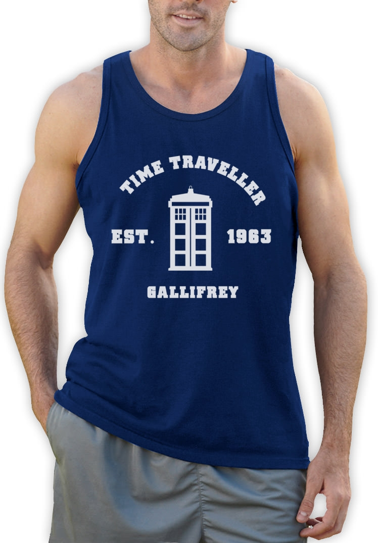 Doctor 50th Anniversary Singlet Who Call the Dr PHONE BOOTH GEEK Space 1962
