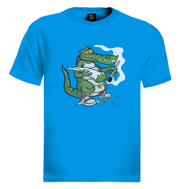 Smoking alligator t shirt weed dope drugs blunt joint 420 for Wiz khalifa long sleeve shirts