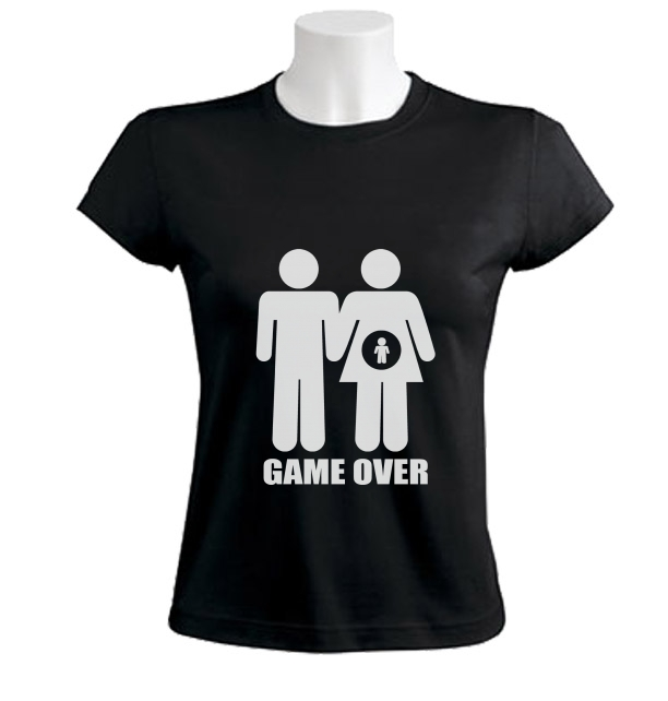 GAME OVER Women T-Shirt Pregnant parody Baby shower maternity mom mommy dad gift