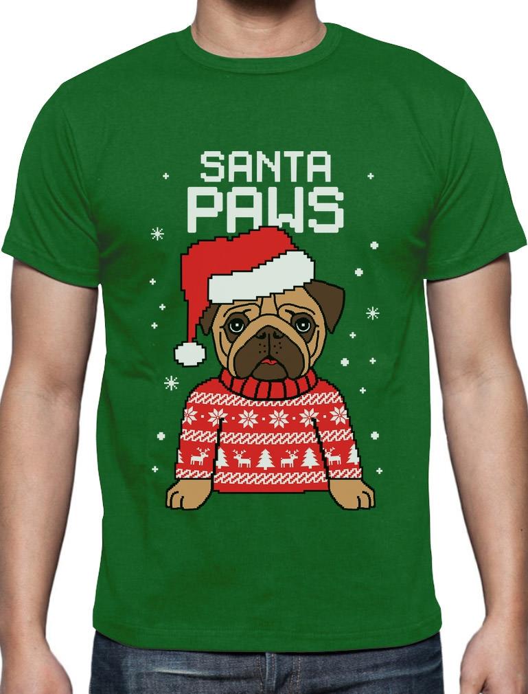 Santa Paws Pug Ugly Christmas Sweater Dog T-Shirt Gift | eBay