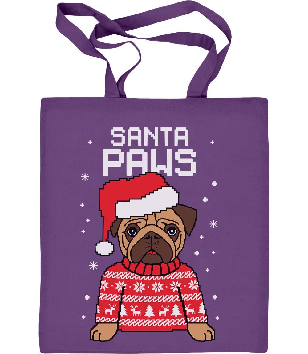 Santa Paws Pfoten Jutebeutel Baumwolltasche Geschenke für Liebahber Mops