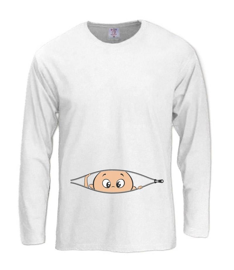 Funny Baby Boy Peekaboo Long Sleeve T-Shirt Cool Pregnancy