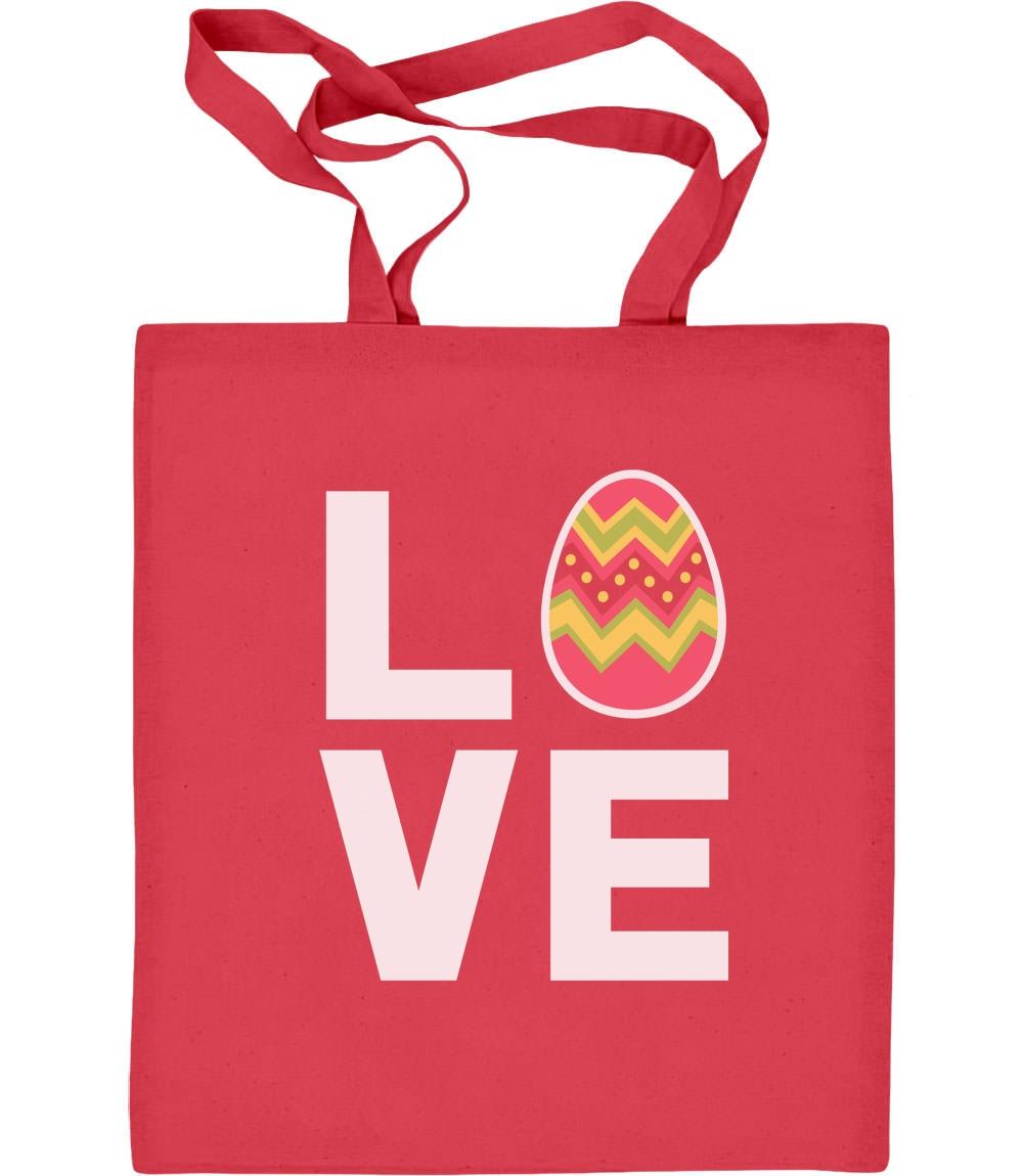 Love Ostern Liebe Dekoriertes Osterei Osteroutfit Jutebeutel Baumwolltasche