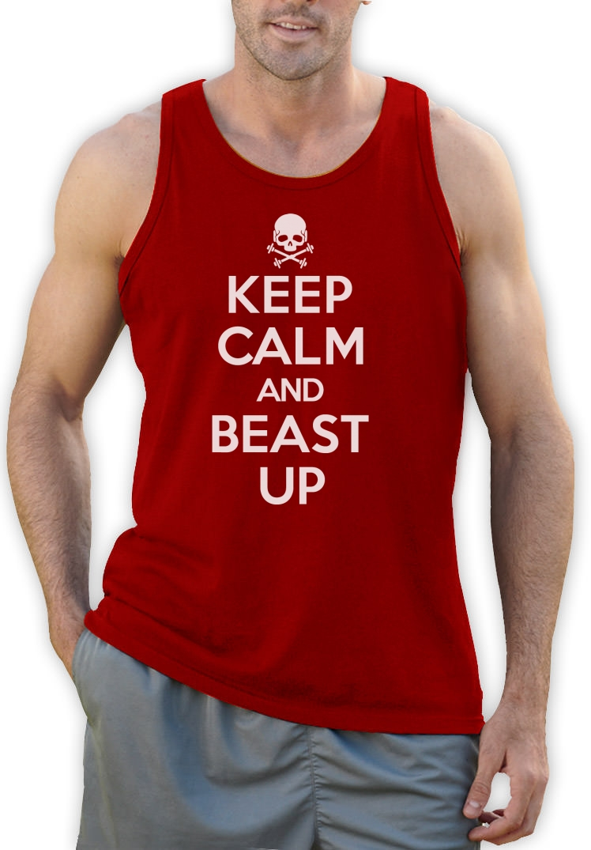 Keep Calm and Beast Up Tank Top Workout MODE Bodybuilding Gym Ausbildung