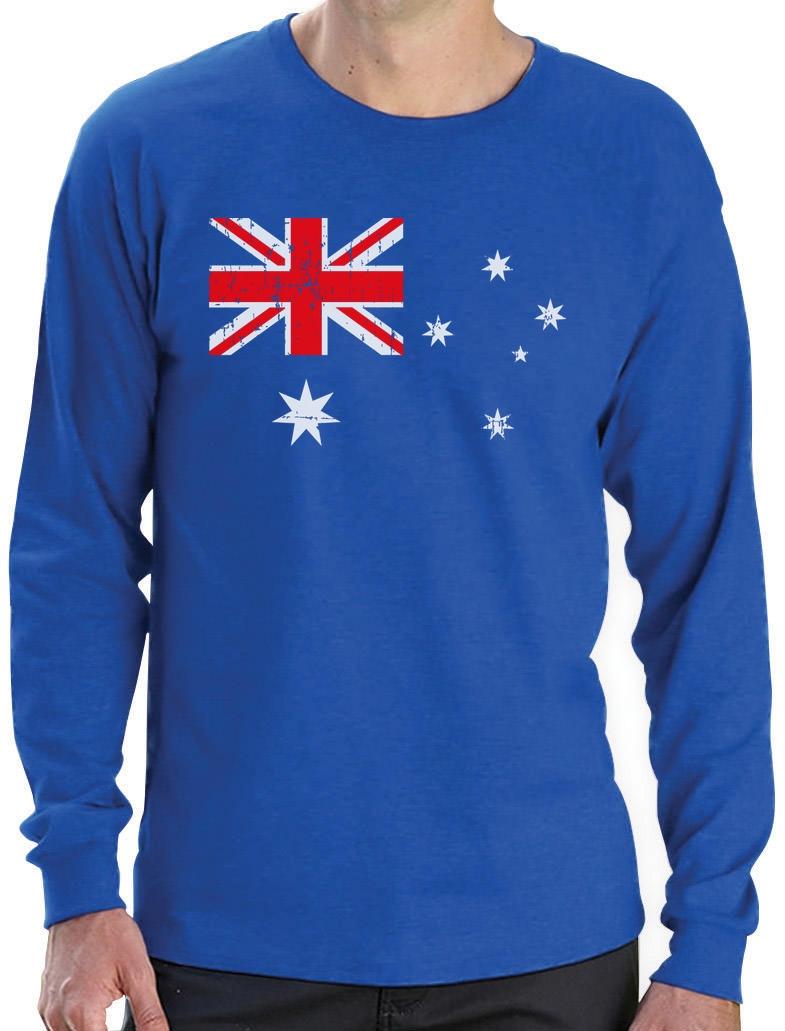australian flag vintage style retro australia flag long sleeve t