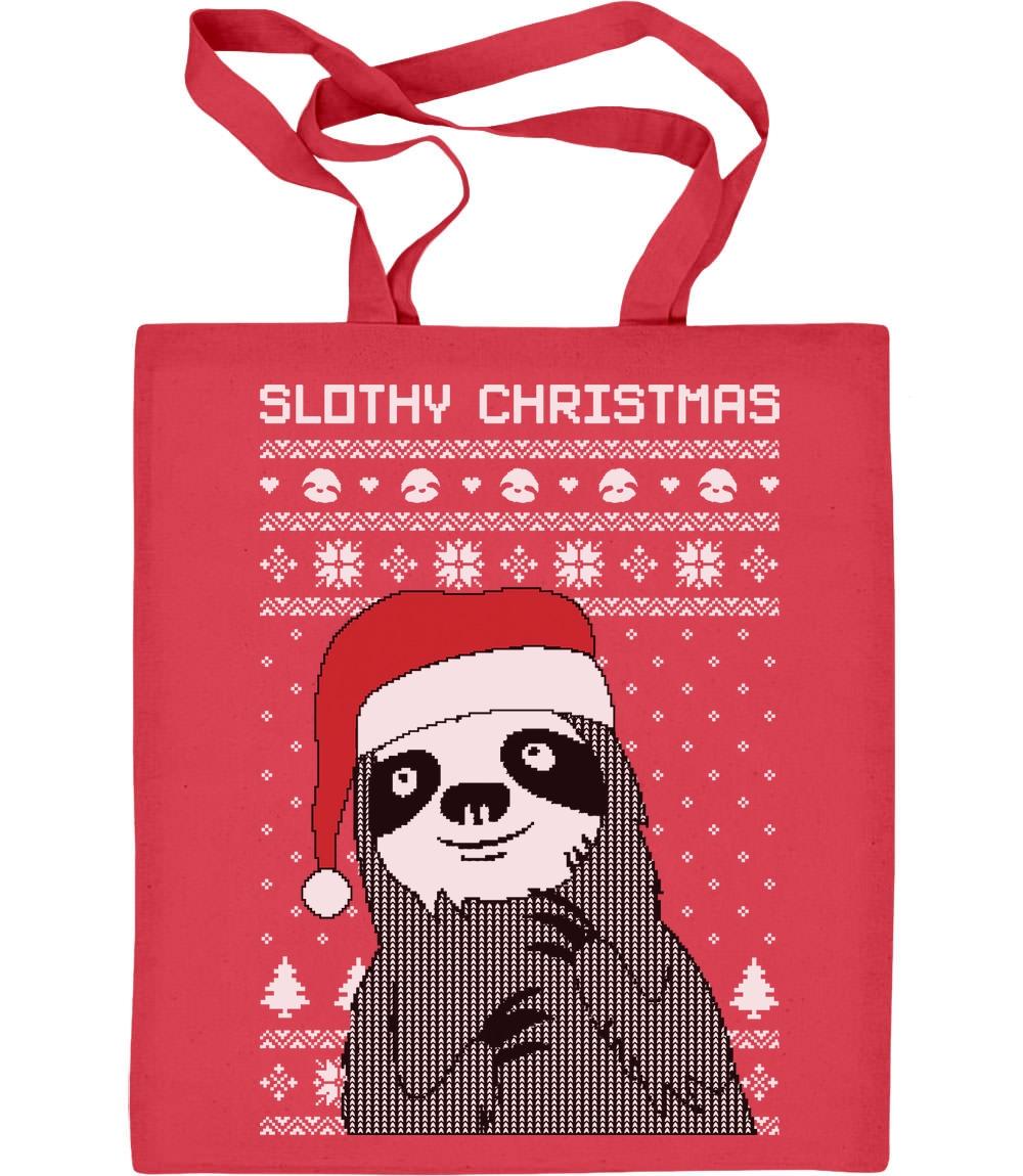Slothy Christmas Faultier mit Jutebeutel Baumwolltasche Nikolausmütze Motiv