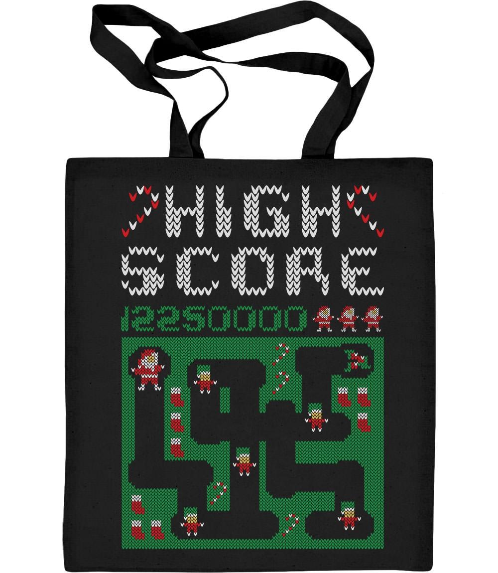 Santa Video Spiel Witzige Weihnachtstasche Jutebeutel Baumwolltasche