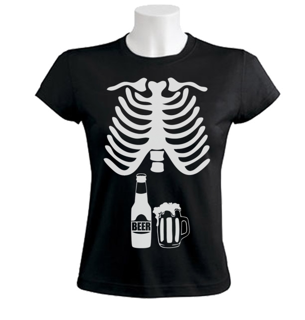 Beer Skeleton Xray Women T-Shirt baby announcement dad to be couples Beer