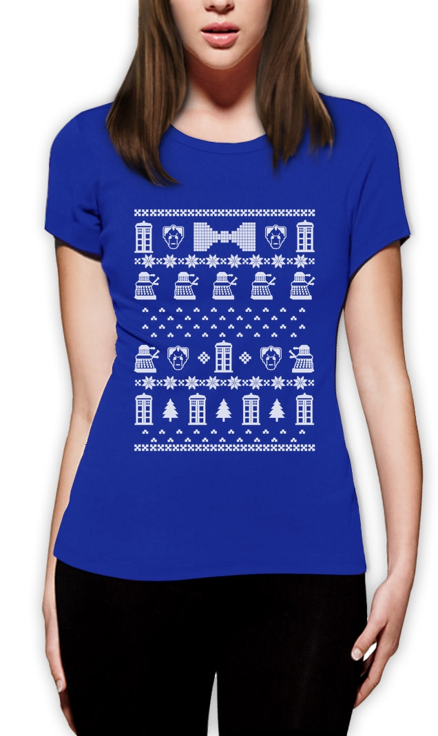 doctor ugly christmas sweater Women T-Shirt Who POLICE BOX 50th ...