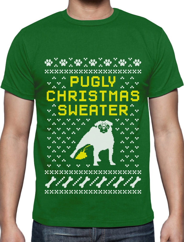 Pugly Christmas Sweater - Pug Ugly Christmas Sweater T-Shirt Funny ...