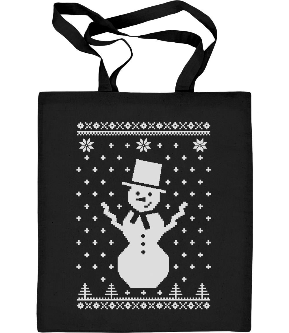 Grosser Schneemann Winter Flocken Weihnachten Jutebeutel Baumwolltasche Xmas