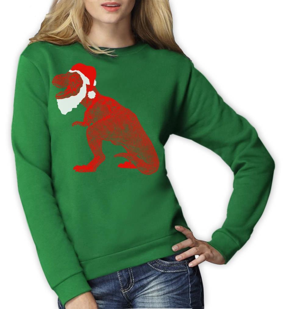 Santasaurus Merry Christmas Trex Santa Funny Xmas Women Sweatshirt ...