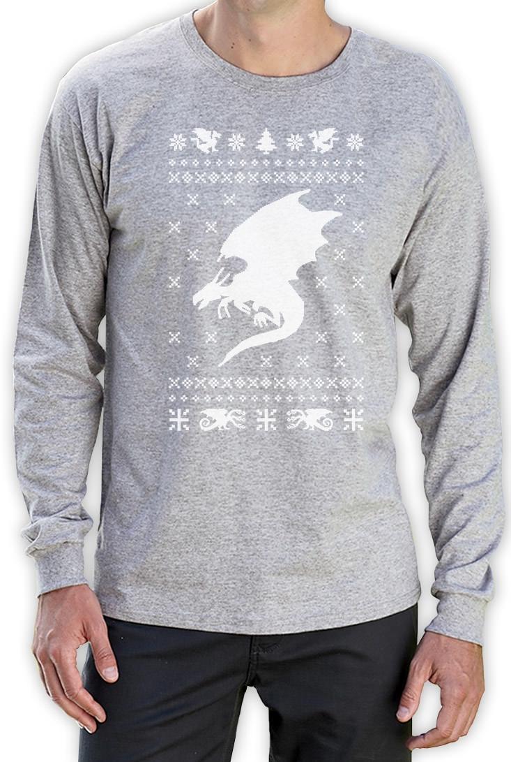 Big White Dragon Ugly Christmas Sweater Xmas Gift Long Sleeve T ...
