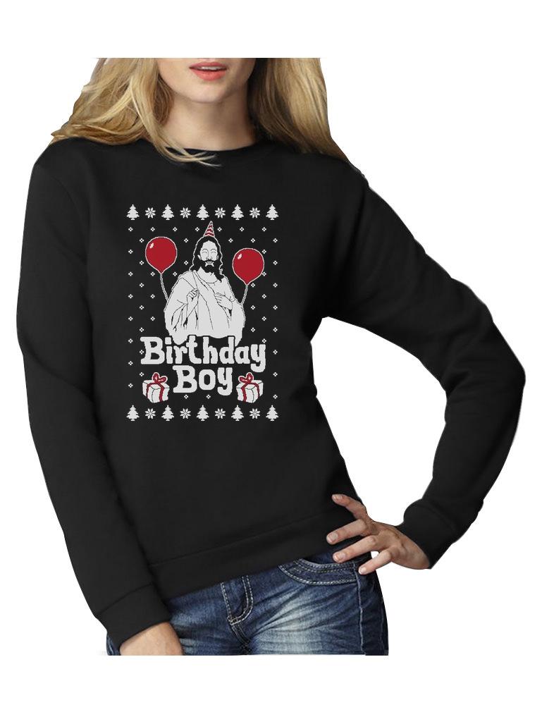 Ugly Christmas Sweater Jesus Birthday Boy Xmas Holiday Women ...