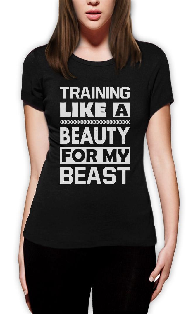 wie ein beauty f r meine beast frauen t shirt trainieren gym mma crew. Black Bedroom Furniture Sets. Home Design Ideas