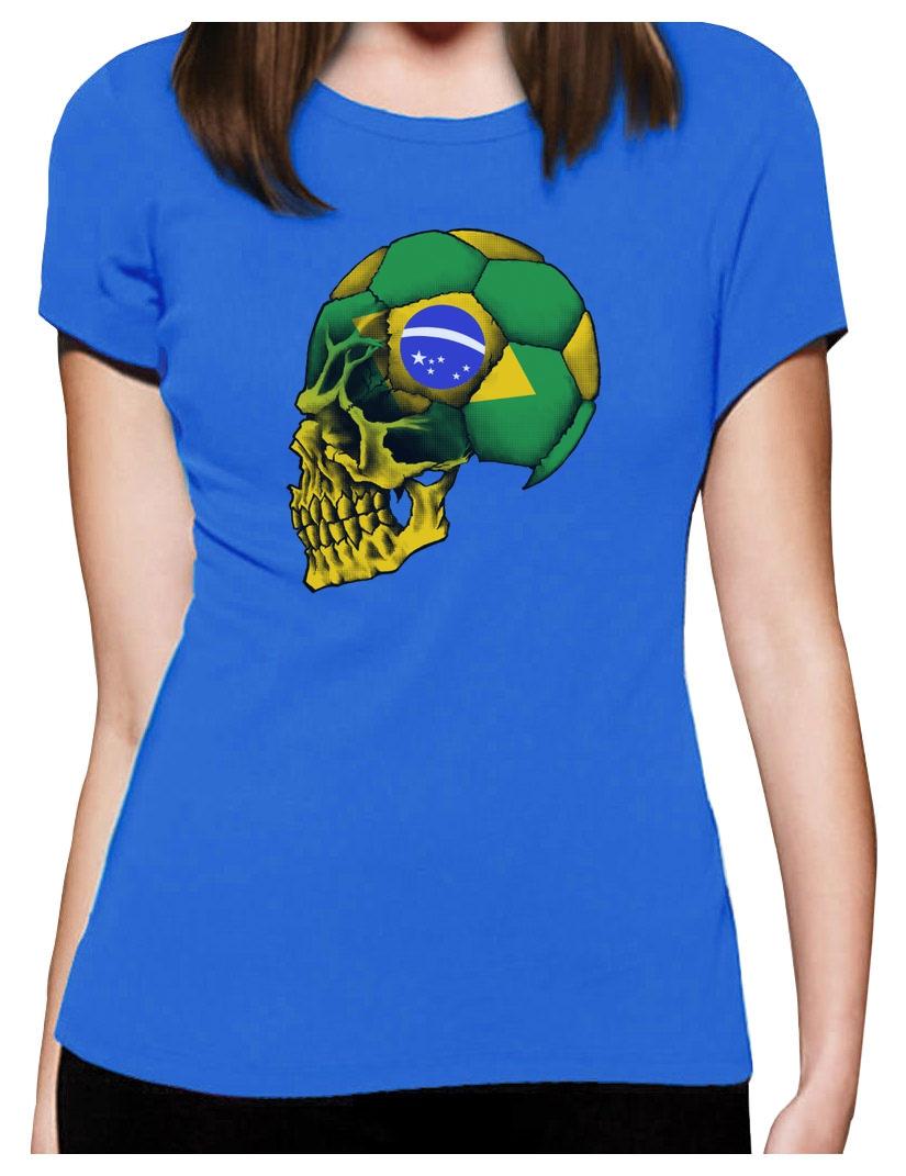 Brazil flag world cup skull women t shirt soccer football for Womens brazil t shirt