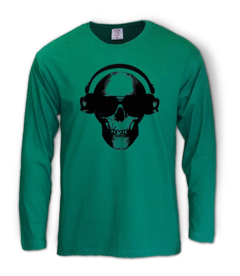 Skull-Headphones-Long-Sleeve-T-Shirt-disco-DJ-club-head-scary-cool-fashion-black