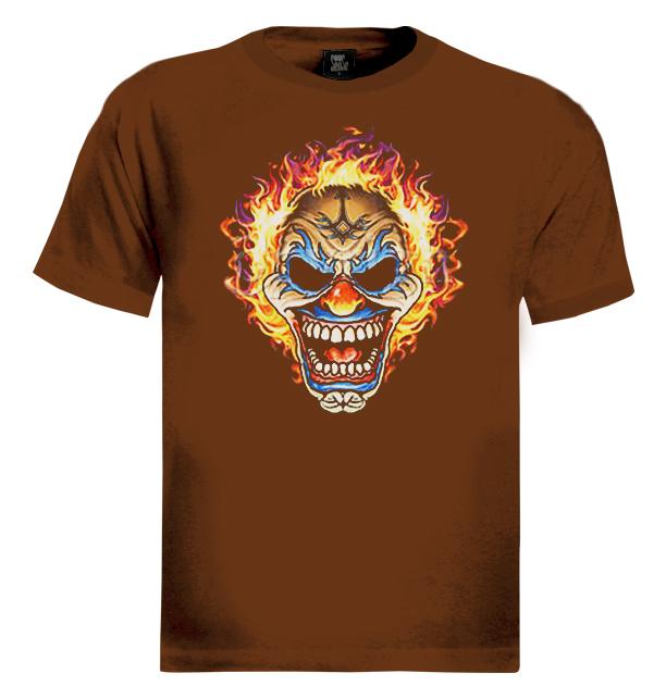 Flaming Clown Skull T Shirt joker tattoo bikers emo