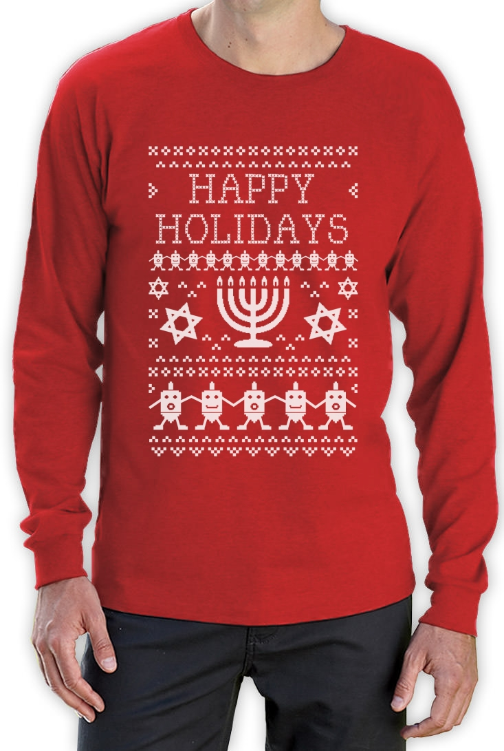 Happy Hanukkah Ugly Sweater Long Sleeve T-Shirt Funny Jewish ...