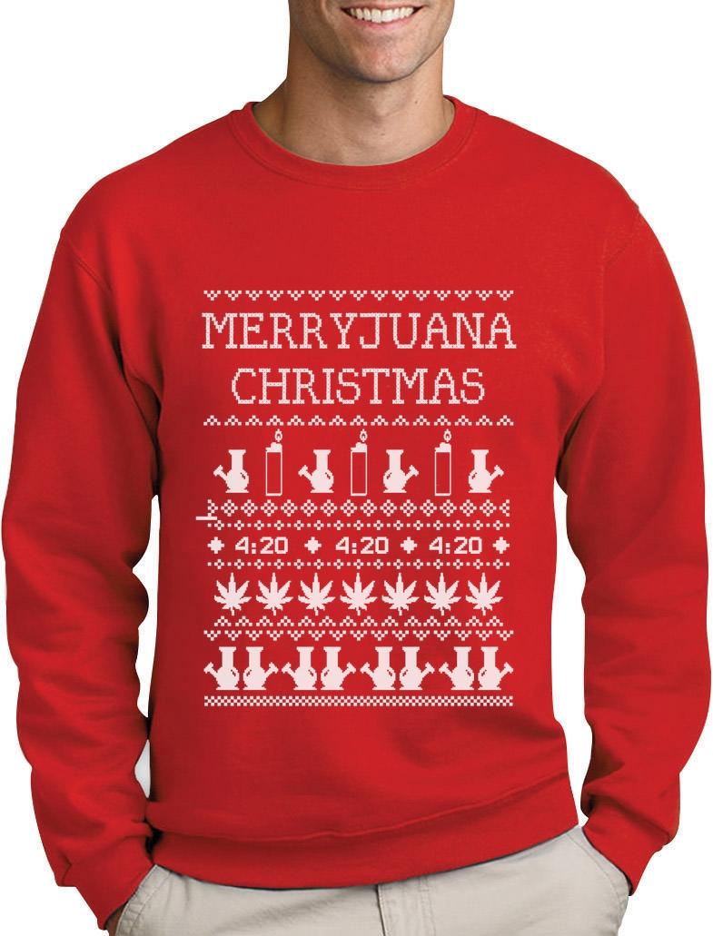 Merryjuana Christmas Sweatshirt Ugly Xmas Sweater Weed Stoner Bong ...