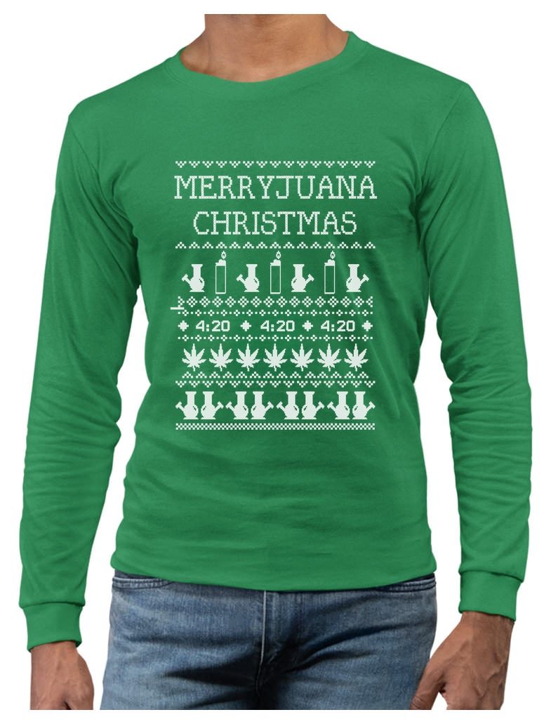 Merryjuana Xmas Long Sleeve T-Shirt Ugly Christmas Sweater Weed ...