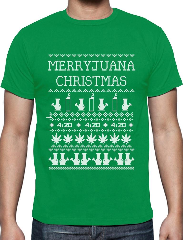 Merryjuana Xmas T-Shirt Ugly Christmas Sweater Weed Stoner Smoke ...