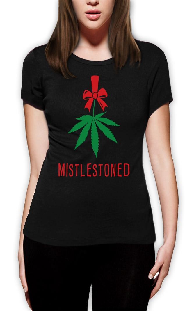 Mistlestoned Women Tshirt Christmas Smoke It Funny Cannabis