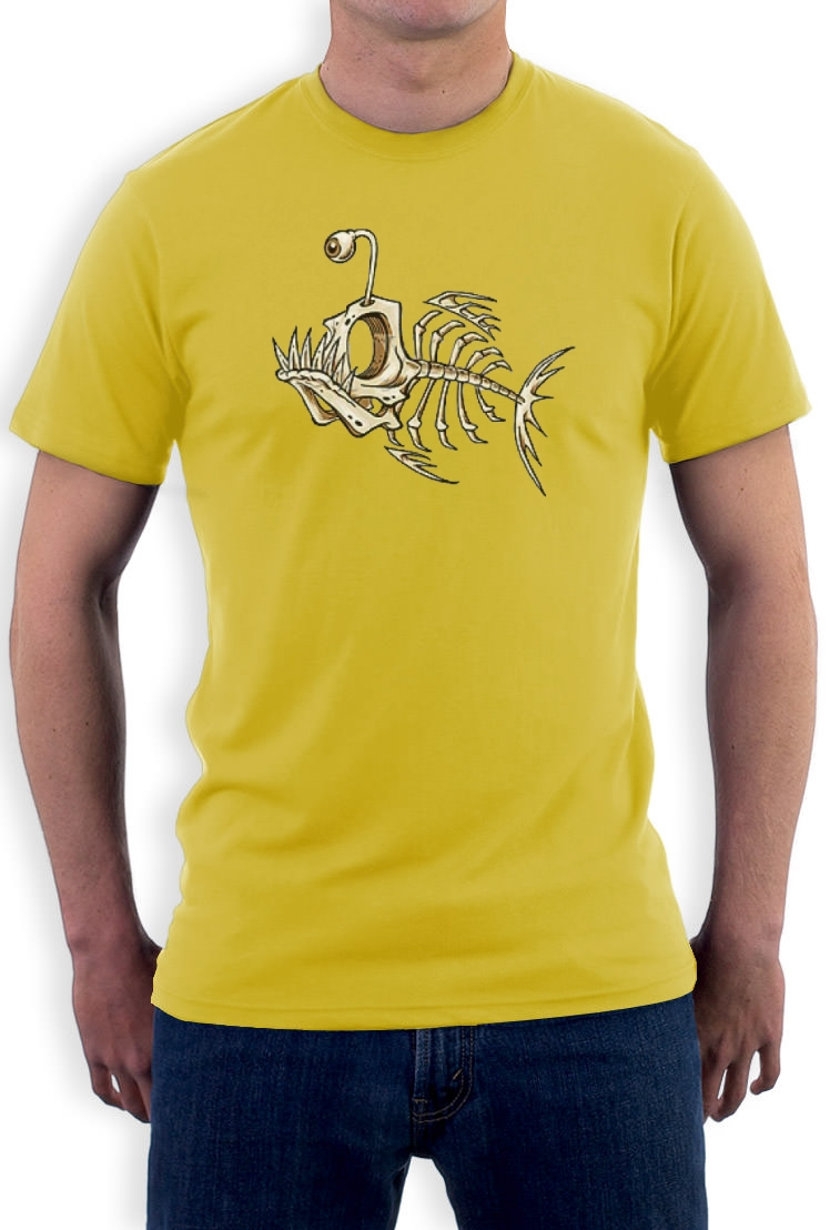 Fish-skeleton-bones-T-Shirt-angler-piranha-new-cool