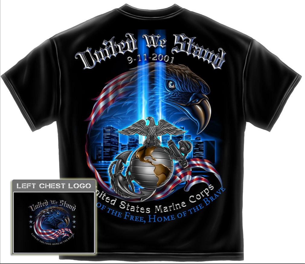 USMC 9 11 T Shirt 911 Marine Corps Military Army Logo USA Flag Eagle NY FF2067US