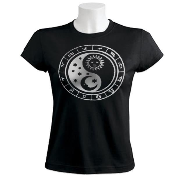 Ying Yang Moon Sun Women T-Shirt zodiac retro yin yan
