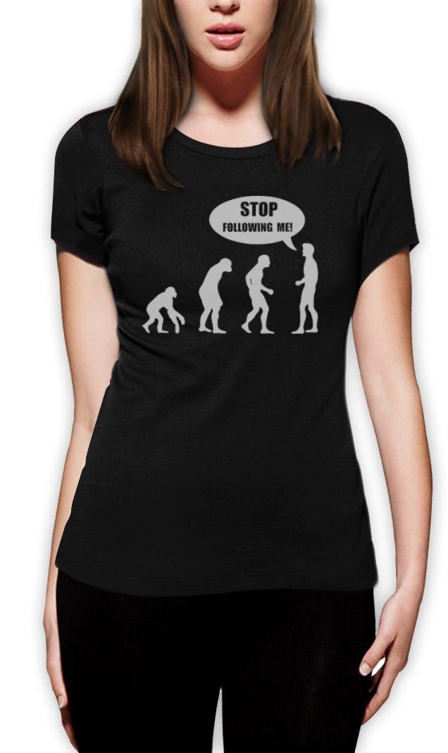 Stop-Follow-Me-Evolution-Women-T-Shirt-funny-monkey