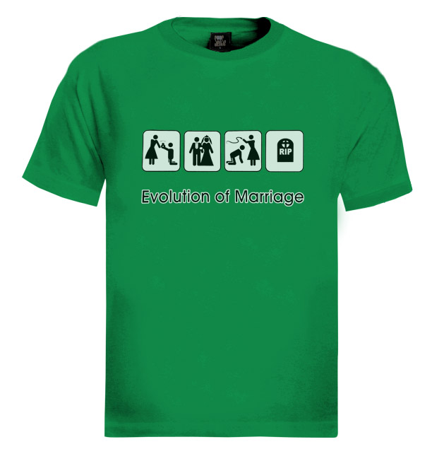 Evolution of marriage t shirt funny humor cool wedding ebay for Funny getting married shirts