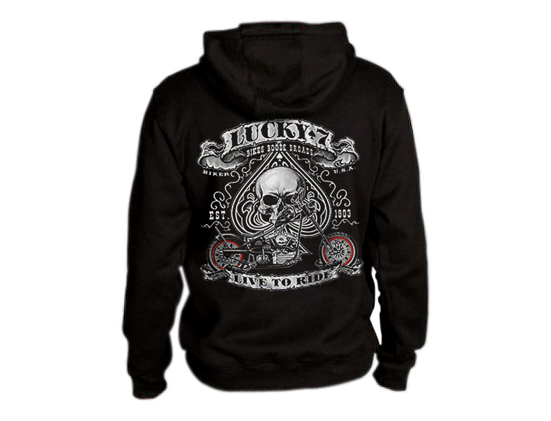 Lucky-7-Hoodie-Bikes-booze-broads-live-to-ride-choppers-bikers-USA-skull-spade