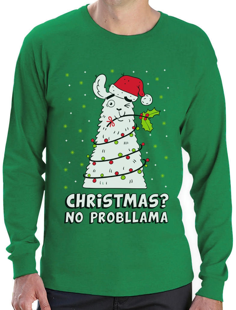 Llama Christmas Sweater.Details About Christmas No Probllama Llama Ugly Sweater Funny Long Sleeve T Shirt Gift Idea